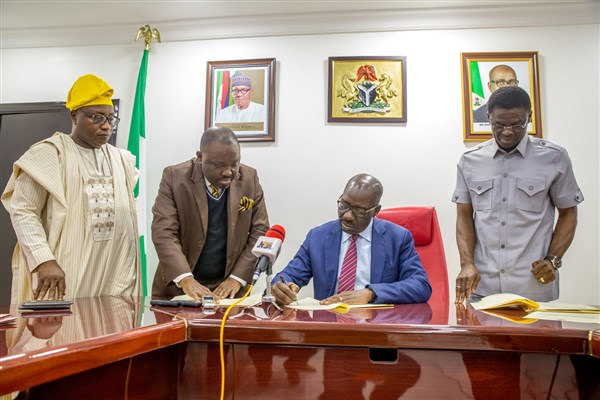 Obaseki Sign Harmonize Revenue Collection Bill Into Law
